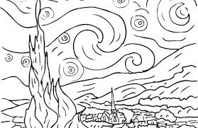 coloring page for van starry night coloring pages starry night starry night coloring page