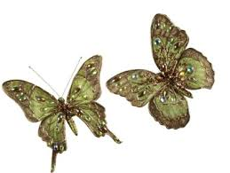 2 nwt 5 wired gold bronze green gold jeweled butterfly clip