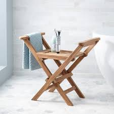 Small Teak Shower Stool Plastic Shower Seat Signature Hardware