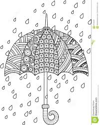 hand draw doodle coloring page for i love autumn rain
