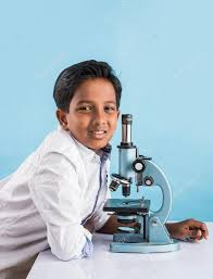 indian boy and microscope asian boy with microscope