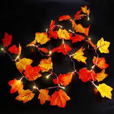 battery lighted fall garland qedertek maple leaves decorations lighted fall garland 8 2ft 20 led