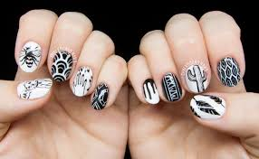 freehand cloud design nail art tutorial personalized black and white freehand nail art chalkboard nails