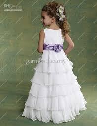 cheap flower girls dresses for weddings chiffon white and purple
