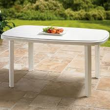 white plastic patio table brylane home oval resin table white 0 by brylanehome 99 99