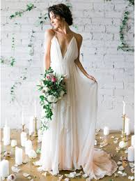 chiffon wedding dress a line v neck backless ivory chiffon wedding dress with