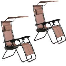 Patio Chairs New 2 Pcs Zero Gravity Chair Lounge Patio Chairs With Canopy Cup