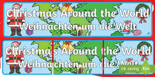 around the world display banner german