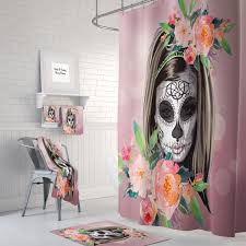 Sourpuss Shower Curtain Day Of The Dead Shower Curtain Home Design And Decoration