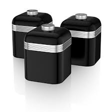 Canister Kitchen Set Swan Retro Storage Canisters Black 3 Piece Amazon Co Uk