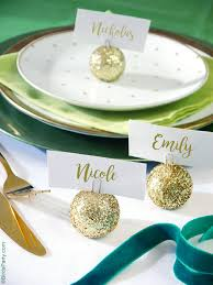 diy glitter baubles ornament place card holders ideas