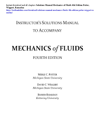 solutions manual mechanics of fluids 4th edition potter wiggert
