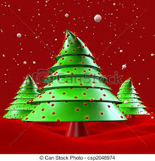 christmas tree with snow christmas trees with snow falling greeting 3d illustration drawing