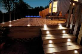 Stair Lights Outdoor Outdoor Patio Stair Lights On A Wooden Deck Artenzo