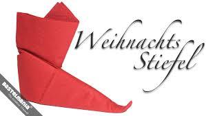 weihnachtsservietten falten servietten falten anleitung stiefel weihnachten diy napkin folding