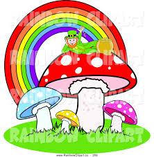 vector clip art of a leprechaun resting atop a mushroom under a