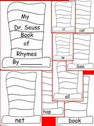 dr seuss book of rhymes primary writing activity kinderga