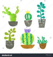 hand drawn cactus illustration set acrylic stock vector 289975184
