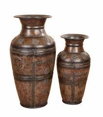 Copper Flower Vase Benzara 75714 Set 2 Benzara Brown Metal Flower Vase 29
