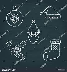 collection chalk sketch new year icons stock vector 721599733