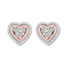 diamond heart earrings diamond heart earrings sterling silver 10k gold