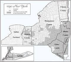 County Map Of New York State by 1790 New York Settlements Map