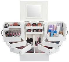 Makeup Box luxury deluxe wood cosmetic box w mirror by lori greiner page 1