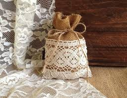 burlap party favor bags 10 rustic lace covered burlap favor bags wedding bridal shower