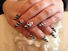 stiletto nails with black and white one stroke nail designs for you
