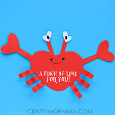 valentines for kids heart shape crab craft for kids crafty morning