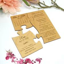 engraved wooden puzzle wedding invitation with save the date