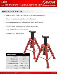 sunex 1310 10 ton medium height pin type stands pair