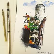 gruissa village bamboo pen ink and watercolor aquarell u2026 flickr