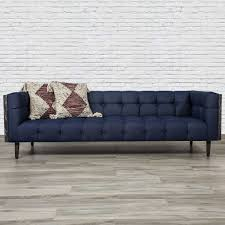 mid century sofa in dark navy raw denim modshop