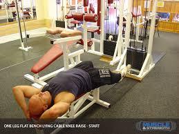 Leg Raise On Bench One Leg Lying Cable Knee Raise Video Exercise Guide U0026 Tips