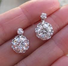 big diamond earrings 44 big diamond stud earrings 100 total carat weight cut