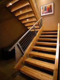 Landing Banister Lowes Stair Treads Staircase Industrial With Cable Railing Exposed