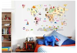 Aliexpresscom  Buy Cartoon World Map Wall Sticker For Kids Room - Stickers for kids room