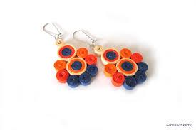 earrings paper orange blue dangle quilling paper earrings summer diy paper