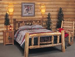 Bedroom Furniture Full Size Bed Rustic Log Bedroom Furniture Varnished Log Wood King Size Bed