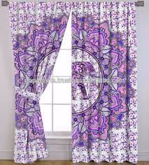 Pink And Purple Curtains Indian Elephant Mandala Curtains Cotton Boho Drapes Pink