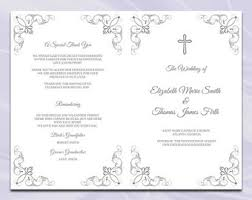catholic wedding program cover catholic wedding program template cross trifold