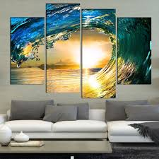 ocean decorations for home blue ocean wave 4 pieces sets canvas art canvas paintings 4 panels