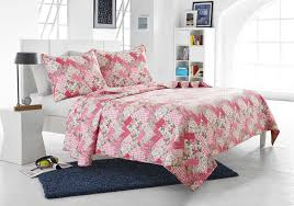 3pc pink floral patchwork quilt set style 1044 cherry hill