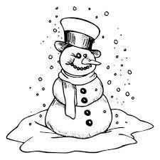 creepy snowman heavy winter snow colouring creepy snowman