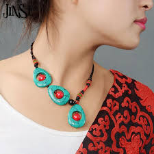 ethnic necklace design images Jinse bls091 handmade vintage ethnic necklace stone and red coral jpg