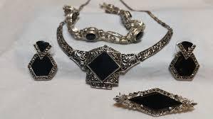 antique jewelry bracelet images Onyx and hematite antique jewelry set engagement rings jeweler