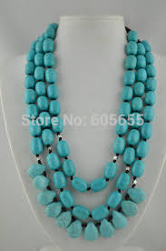 drop beads necklace images Handmade three row 20 quot blue howlite turquoise barrel drop beads jpg