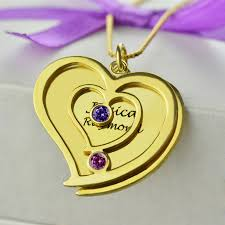 gold necklaces with names birthstone heart name necklace 18k gold plated