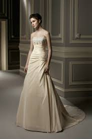 Champagne Wedding Dresses Ruched Strapless Elegant Long Sweep Train Flattering Beaded